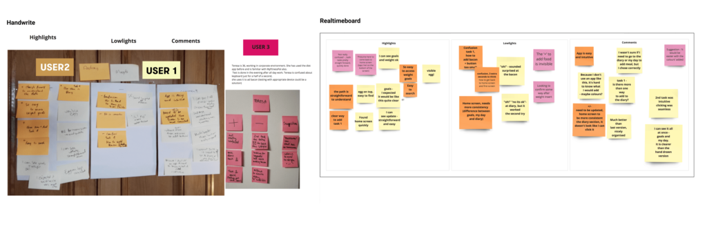 Figure 13 - Notes from the Usability Testing