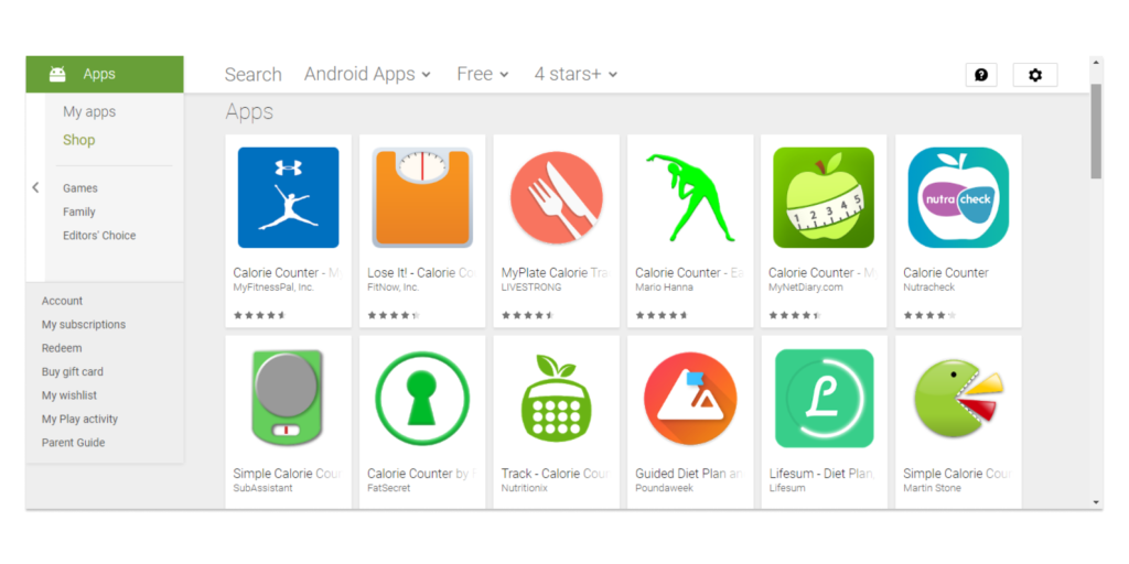 Figure 1 – Fitness Apps for Android on Google Play